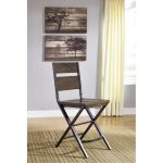 Kavara Medium Brown Reclaimed Wood and Metal Counter Height Stool