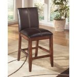 Larchmont Burnished Dark Brown Upholstered Counter Stool (Set of 2)
