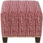 Line Dot Holiday Red Square Nail Button Ottoman