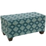 Line Lattice Teal Storage Bench