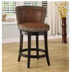Lisbon Espresso/Leopard Print 26 Inch Swivel Counter Stool