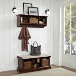 Mahogany 2 Piece Entryway Bench and Shelf Set – Brennan