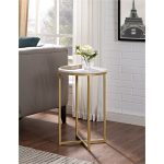 Marble and Gold Round Side Table