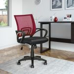 Maroon Mesh Back and Black Office Chair