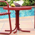Metal Red Outdoor Patio Side Table – Retro