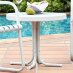 Metal White Outdoor Patio Side Table – Retro