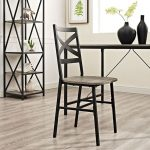 Metal X-Back Wood Seat Dining Chair Set of 2