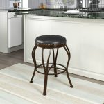 Metal and Brown Bonded Leather Counter Stool