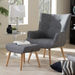 Mid-Century Inspired Upholstered Armchair and Ottoman
