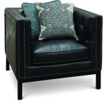 Mid-Century Modern Slate Black Leather Chair – St. James
