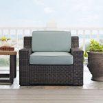 Mist/Dark Brown Wicker Arm Chair – Beaufort