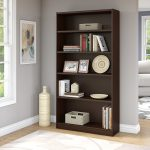 Mocha Cherry 5-Shelf Bookcase – Universal