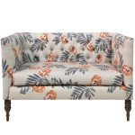 Mod Floral Orange Tufted Settee