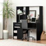 Modern Black Oak Desk and Gray Office Chair – Annexe