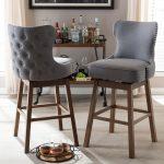 Modern Button-Tufted Upholstered Swivel Barstools Set of 2