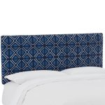 Mudcloth Indigo Blue Upholstered Twin Headboard