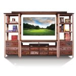 Multi Color Rustic Pine Entertainment Center – Antique