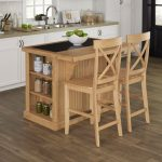 Nantucket Natural Kitchen Island with Granite Top and 2 Stools