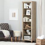 Narrow 6-Shelf Rustic Oak Bookcase – Hopedale