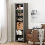 Narrow Gray Bookcase with Basket – Hopedale