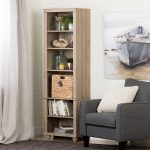 Narrow Oak Bookcase with Basket – Hopedale