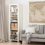 Narrow White Bookcase with Basket – Hopedale