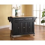 Natural Black Wood Top Kitchen Cart