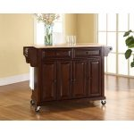 Natural Mahogany Wood Top Kitchen Cart