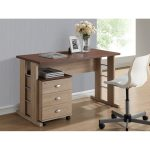 Natural Writing Desk and File Cabinet