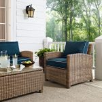 Navy and Brown Wicker Patio Arm Chair – Bradenton