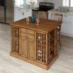 Oak Kitchen Island and 2 Counter Stools