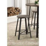 Oak and Metal 24 Inch Counter Stool – Chevre