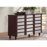 Oak and White 2-Tone Shoe Cabinet