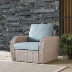 Outdoor Wicker Arm Chair with Mist Gray Cushions – St Augustine