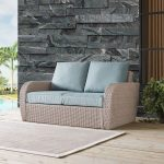 Outdoor Wicker Loveseat with Mist Gray Cushions – St Augustine