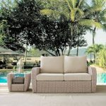 Outdoor Wicker Loveseat with Oatmeal Cushions – St Augustine
