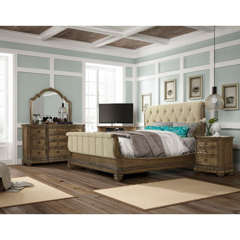 Pecan 6 Piece King Bedroom Set – Touraine Collection   Everything ...