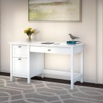 Pure White Computer Desk with 2 Drawer Pedestal – Broadview