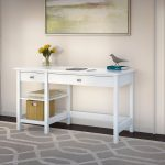 Pure White Computer Desk with Open Storage – Broadview