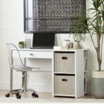 Pure White Desk with Storage and Baskets – Interface