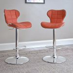 Red Leather Contemporary Adjustable Bar Stool (Set of 2)