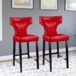 Red Leather Contemporary Bar Stool (Set of 2)