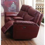 Red Leather-Match Power Reclining Loveseat – K-Motion