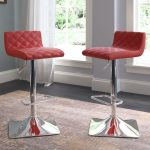 Red Leather Tufted Adjustable Bar Stool (Set of 2)