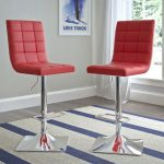 Red Leather Upholstered Adjustable Bar Stool (Set of 2)