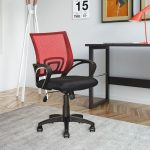 Red Mesh Back and Black Office Chair