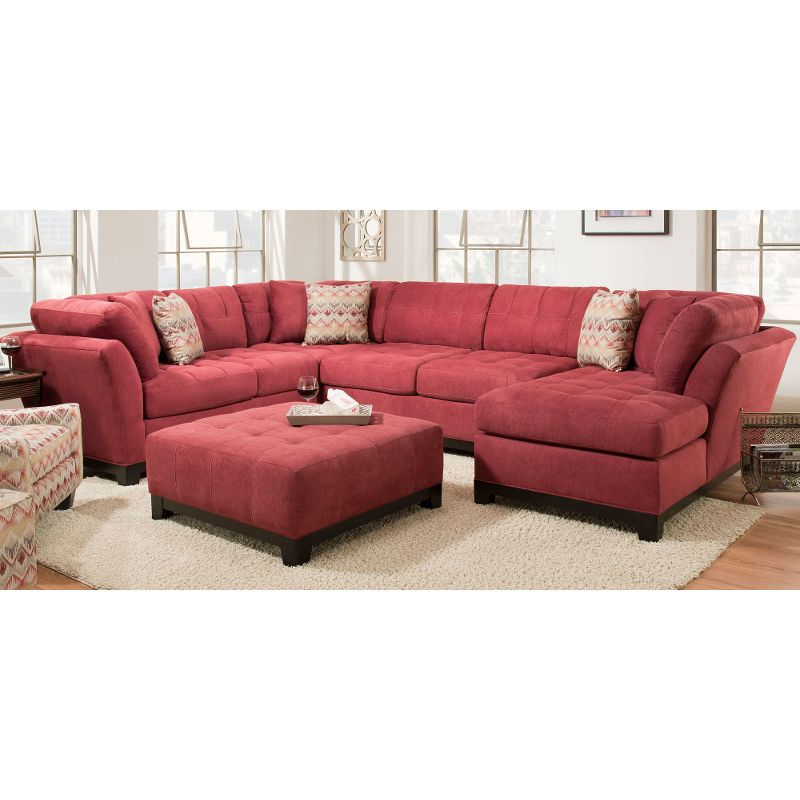 Red Upholstered 3 Piece Casual Contemporary Sectional Loxley