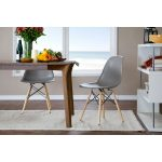 Retro Gray Plastic Shell Chair (Set of 2)