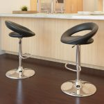 Round Open Back Adjustable Bar Stool Set of 2
