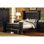Rustic Black King Storage Bed – Torreon
